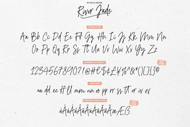 River Jade, signature font script, Logos & bonus clipart example image 9