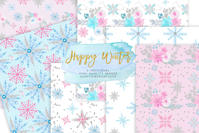 Winter Digital Paper, Winter Paper Pad, Glitter Pattern example image 1