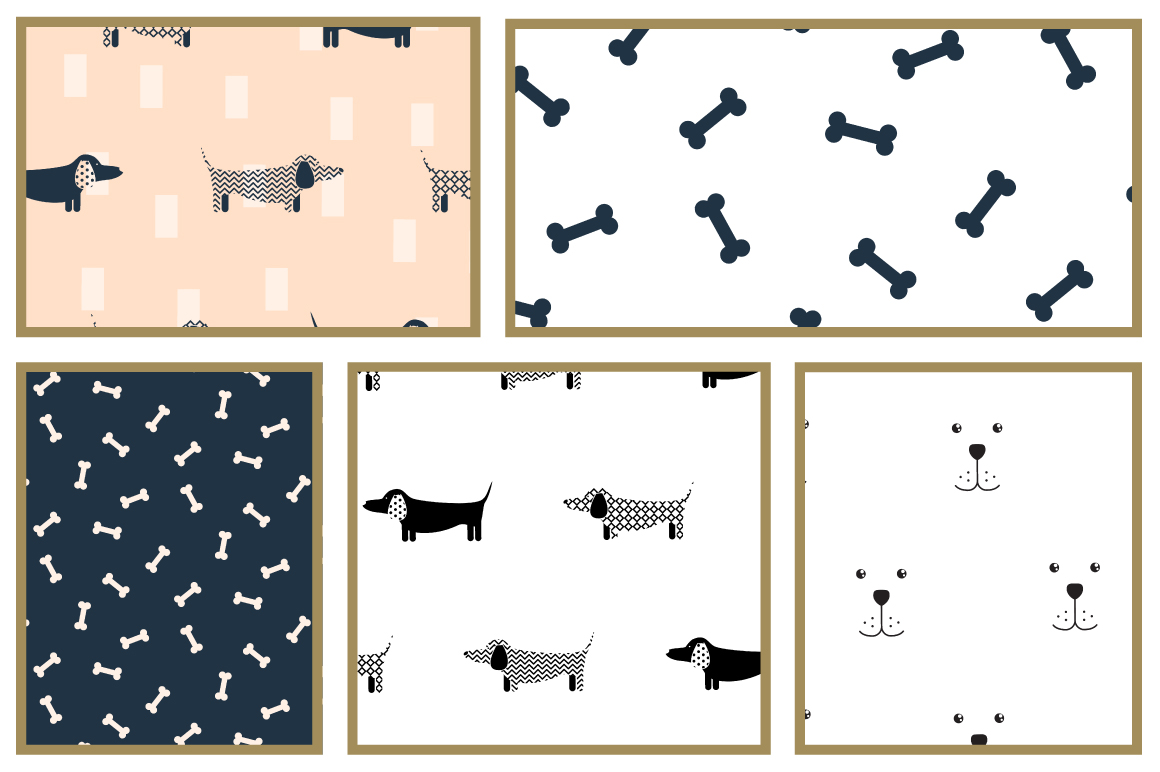Mischievous Dogs seamless patterns example image 2