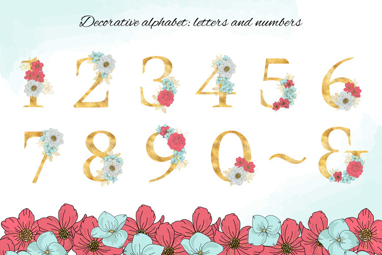 BLOOM Gold Floral Decorative Alphabet Number Set example image 6