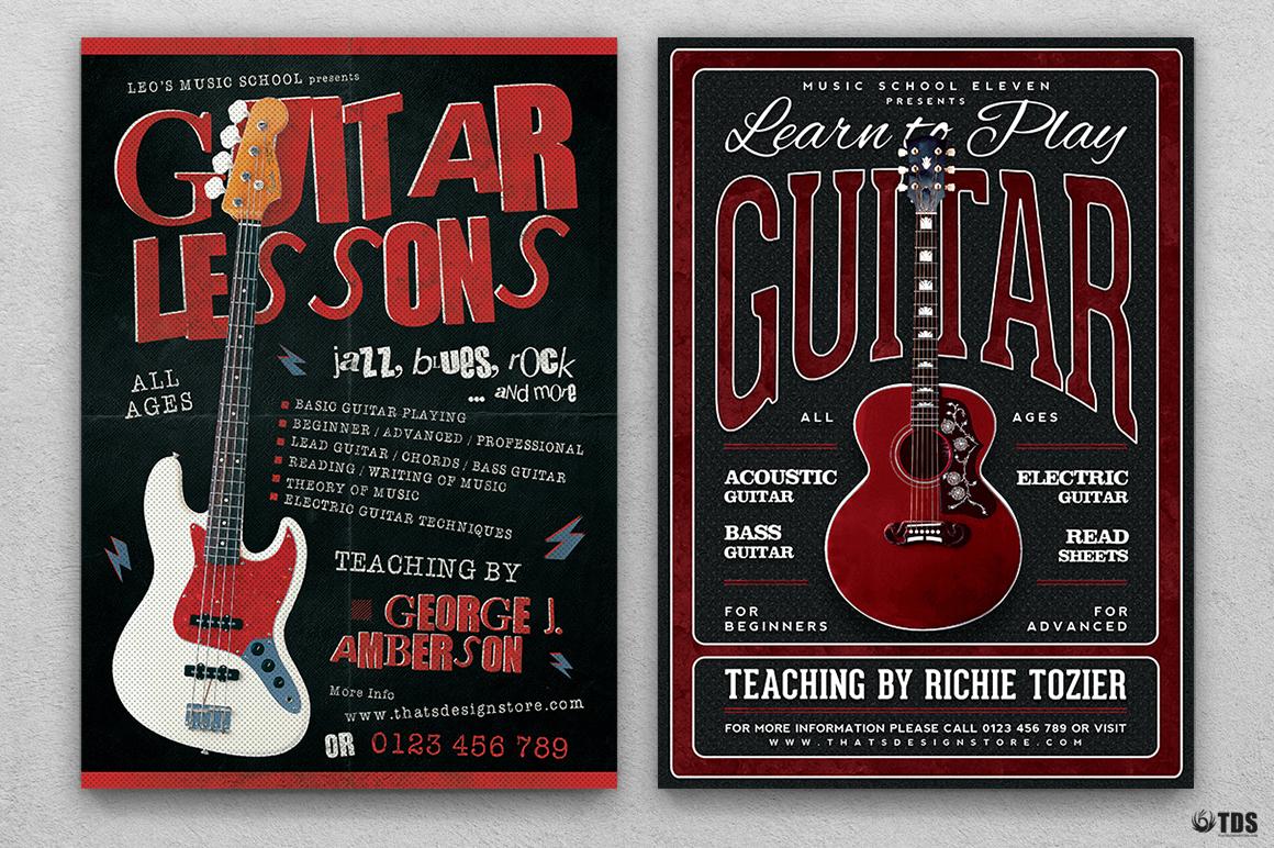 Guitar Lessons Flyer Bundle example image 3