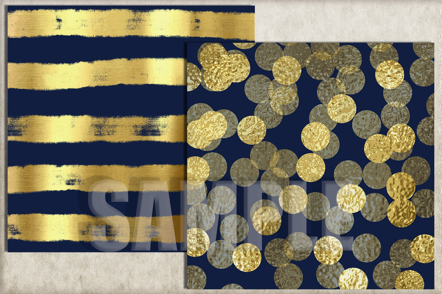 Navy and Gold Foil Digital Paper, Digital Background example image 2