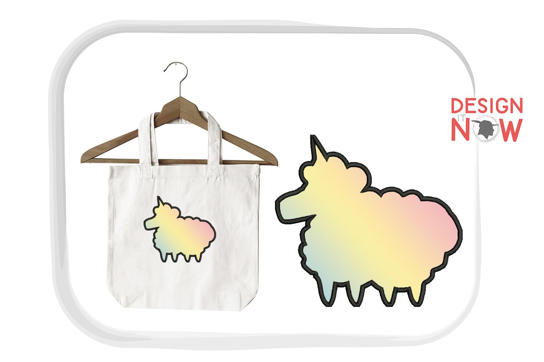 Unicorn Sheep Applique Embroidery Design, Unicorn Embroidery example image 3