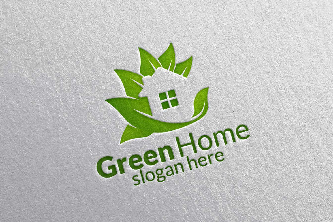 Real estate Logo, Green Home Logo 25 example image 3