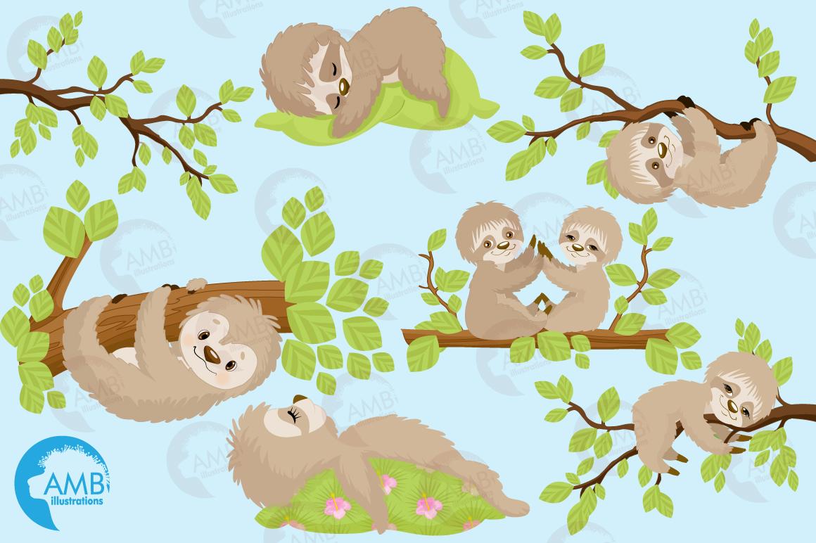 Sleepy Sloths clipart, graphics, illustrations AMB-2200 example image 5