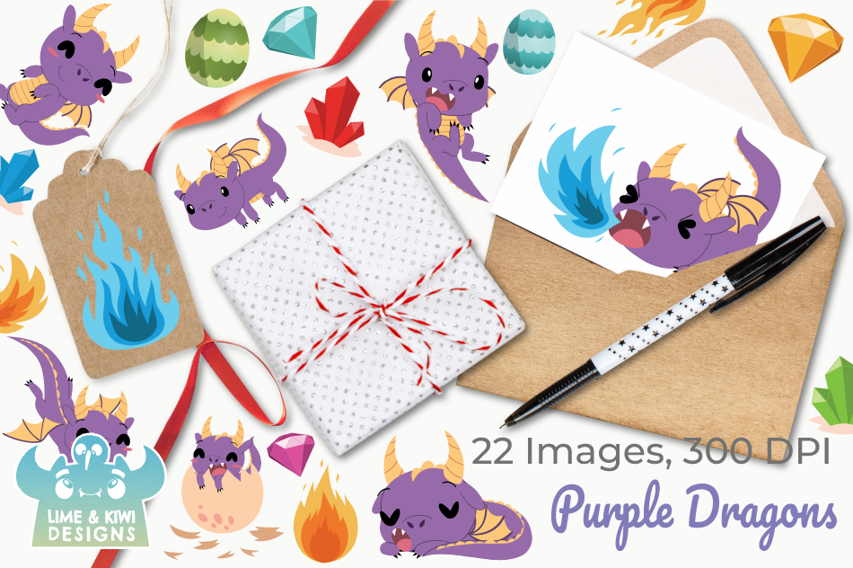 Purple Dragons Clipart, Instant Download Vector Art example image 4