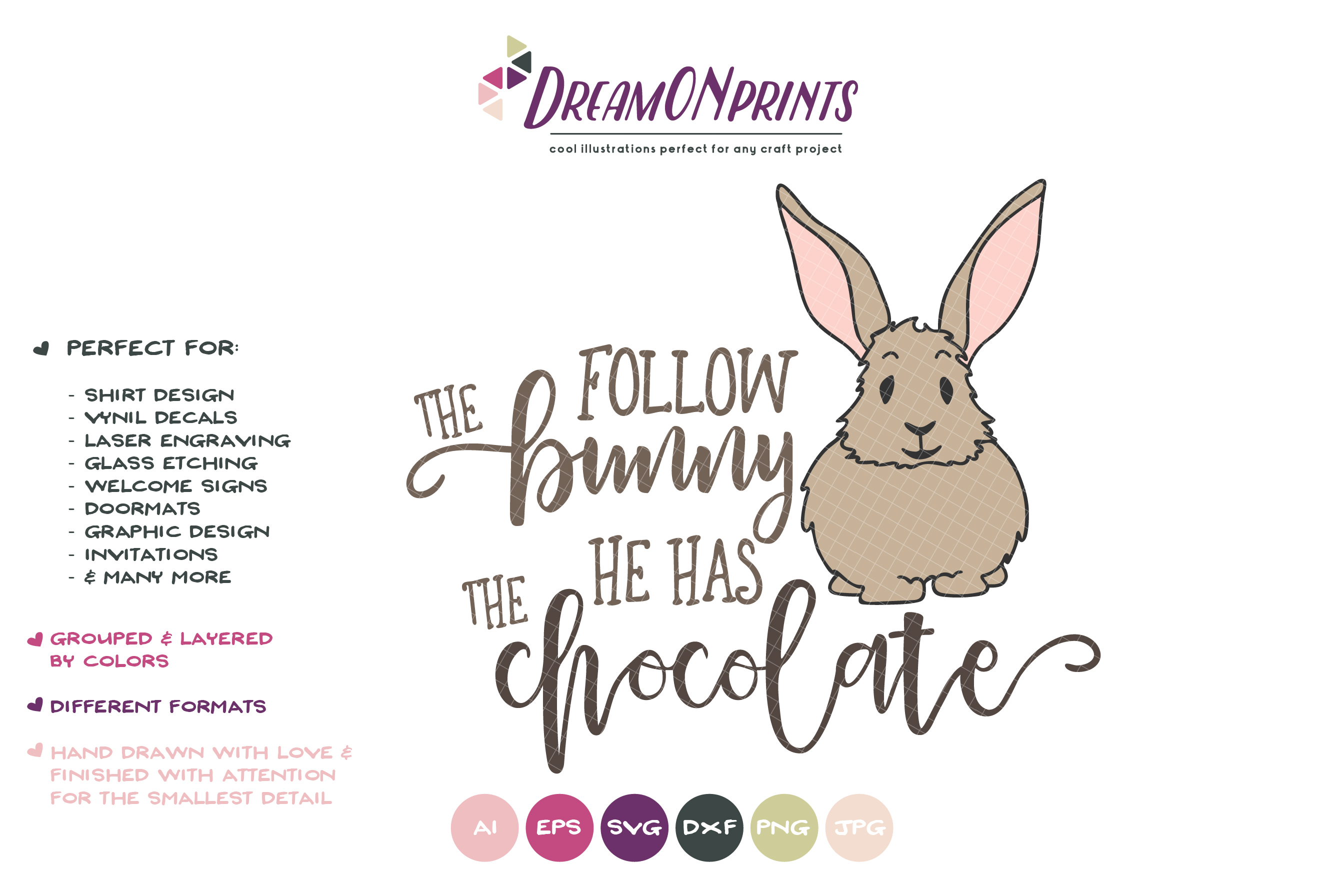 Follow the Bunny He has the Chocolate SVG - Easter SVG example image 2