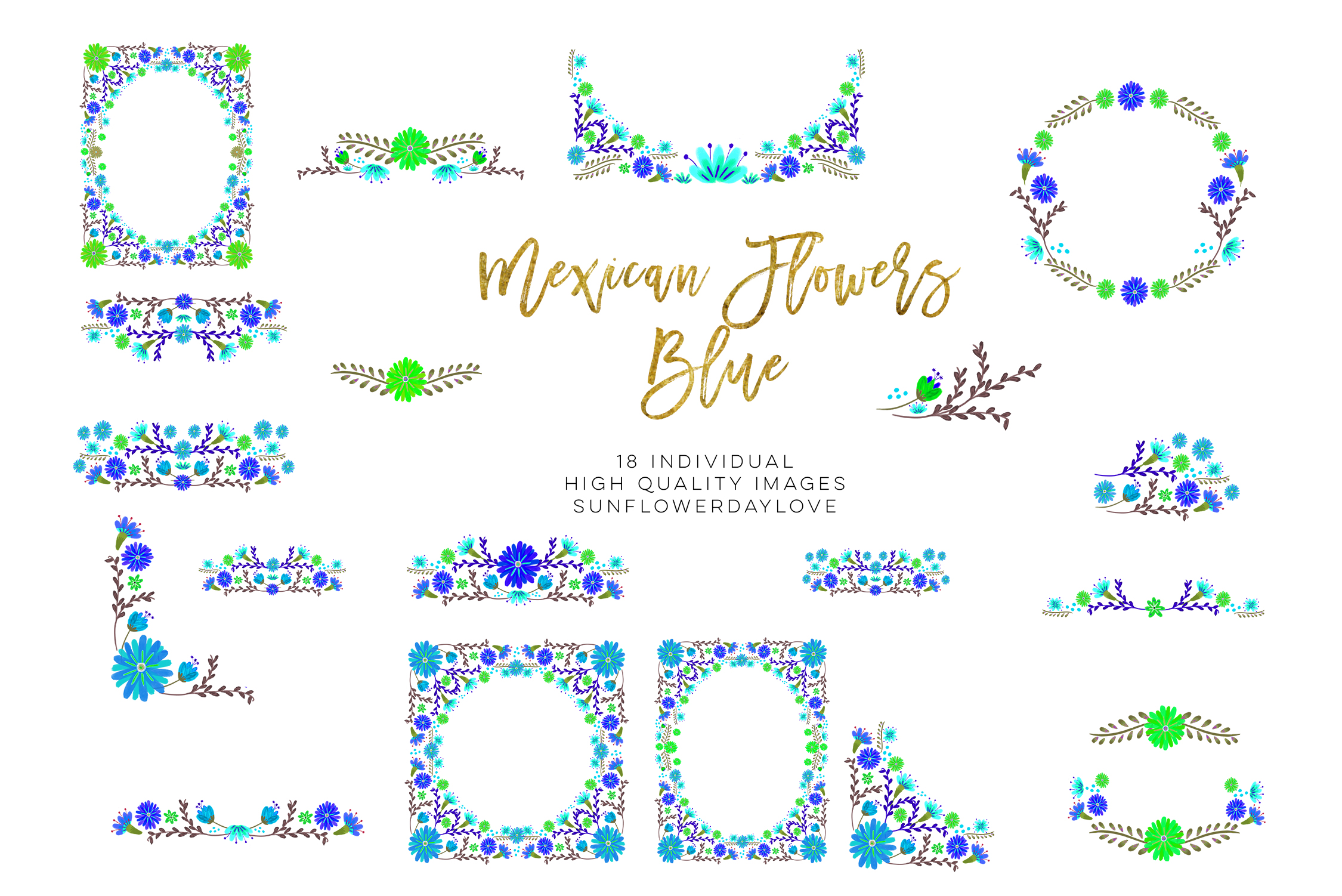Blue Mexican Watercolor Floral clipart example image 5