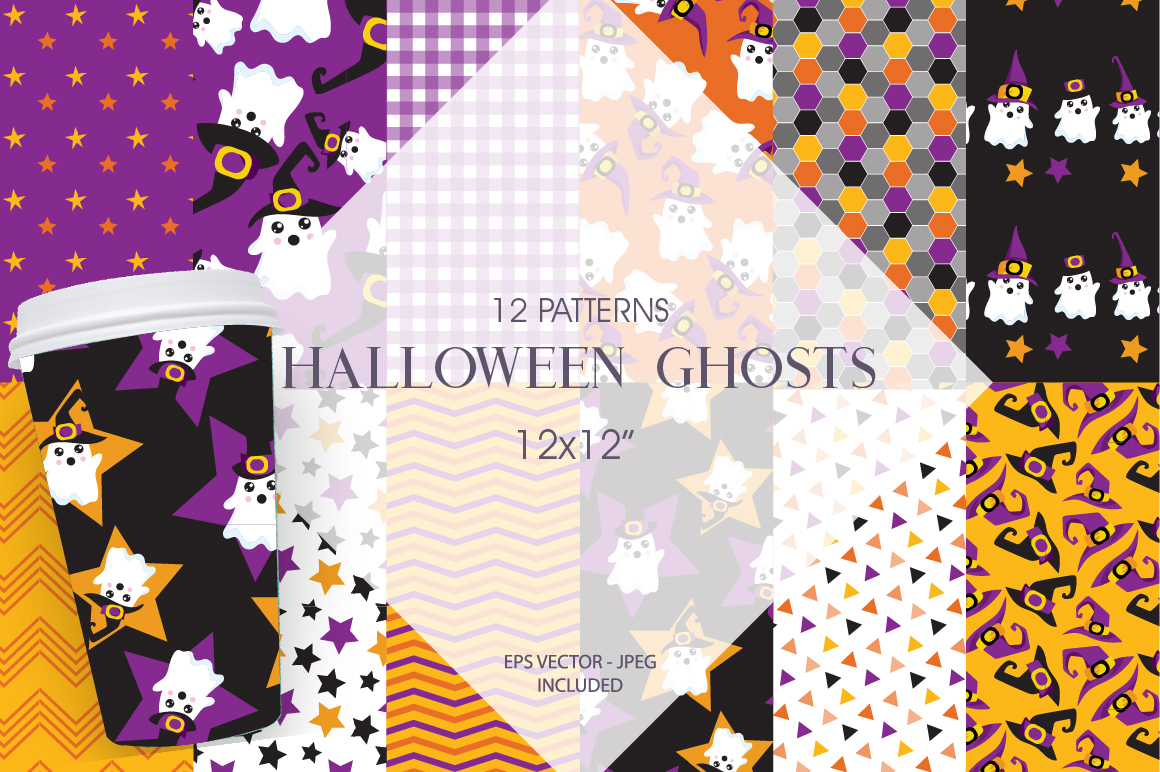 Halloween Ghosts Pattern collection, vector ai, eps example image 1