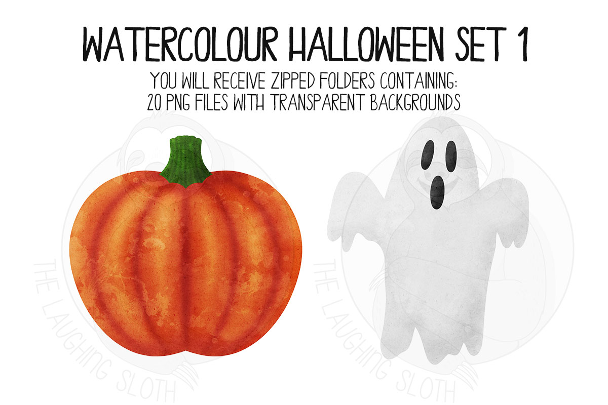 Watercolor Halloween Clip Art Set 1 example image 5