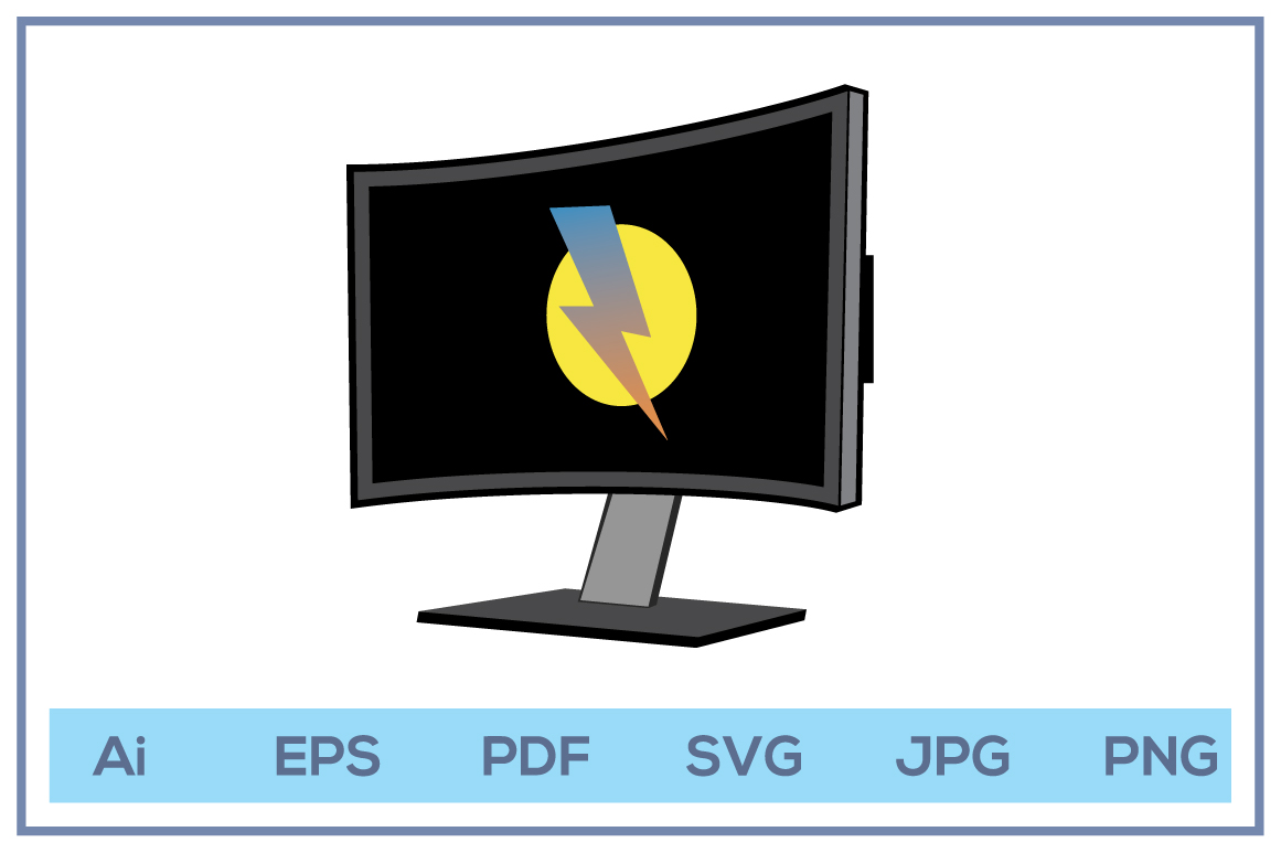 Vector of Computer display led lcd monitor example image 1