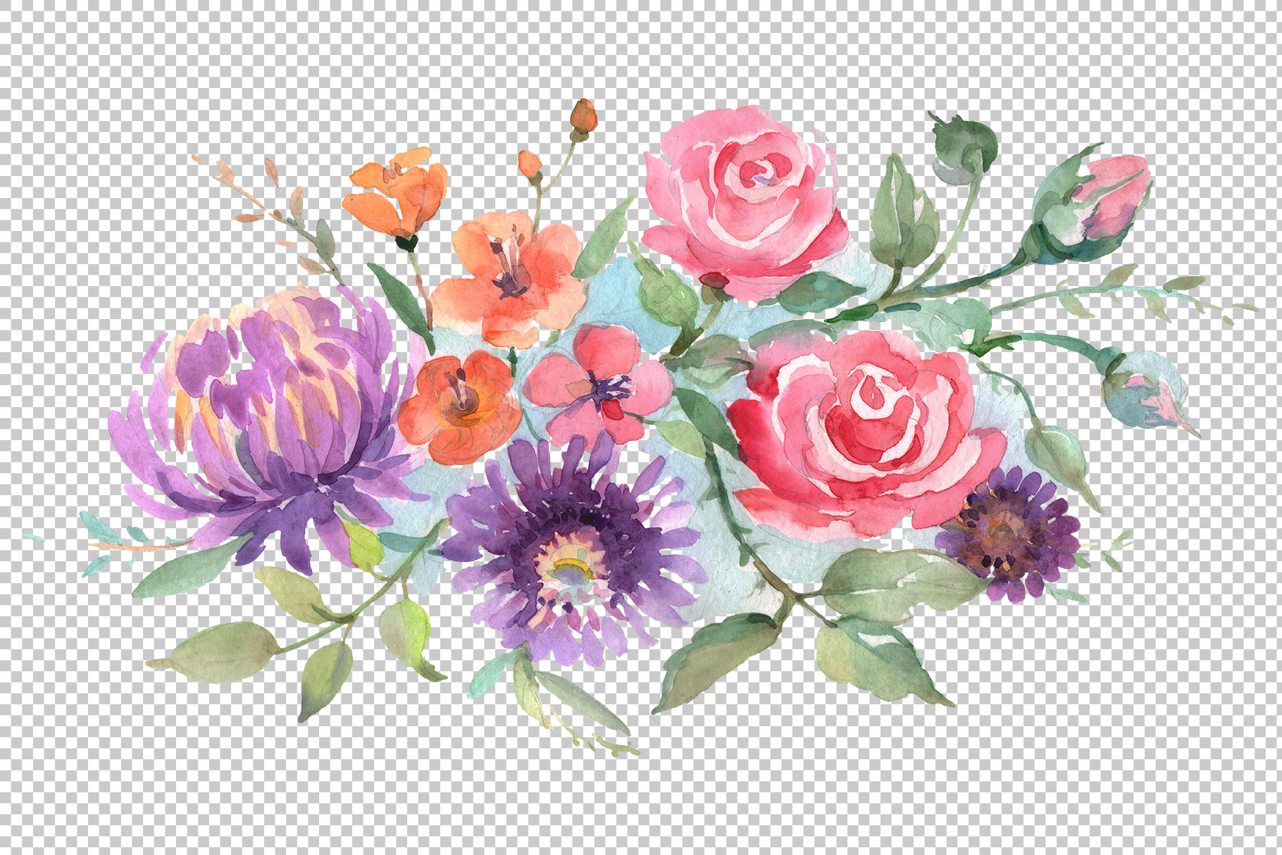 Bouquet with roses and asters Watercolor png example image 2