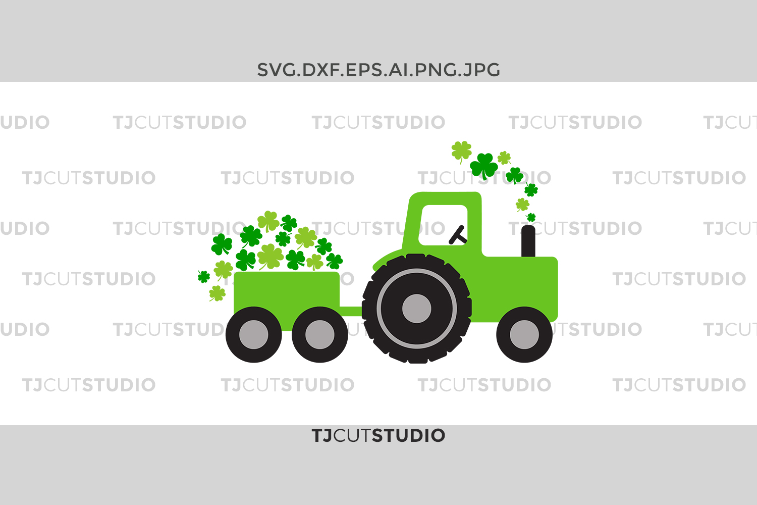 St Patrick SVG Tractor shamrocks, Tractor shamrocks, svg Files for Silhouette Cameo or Cricut, Commercial & Personal Use. example image 1