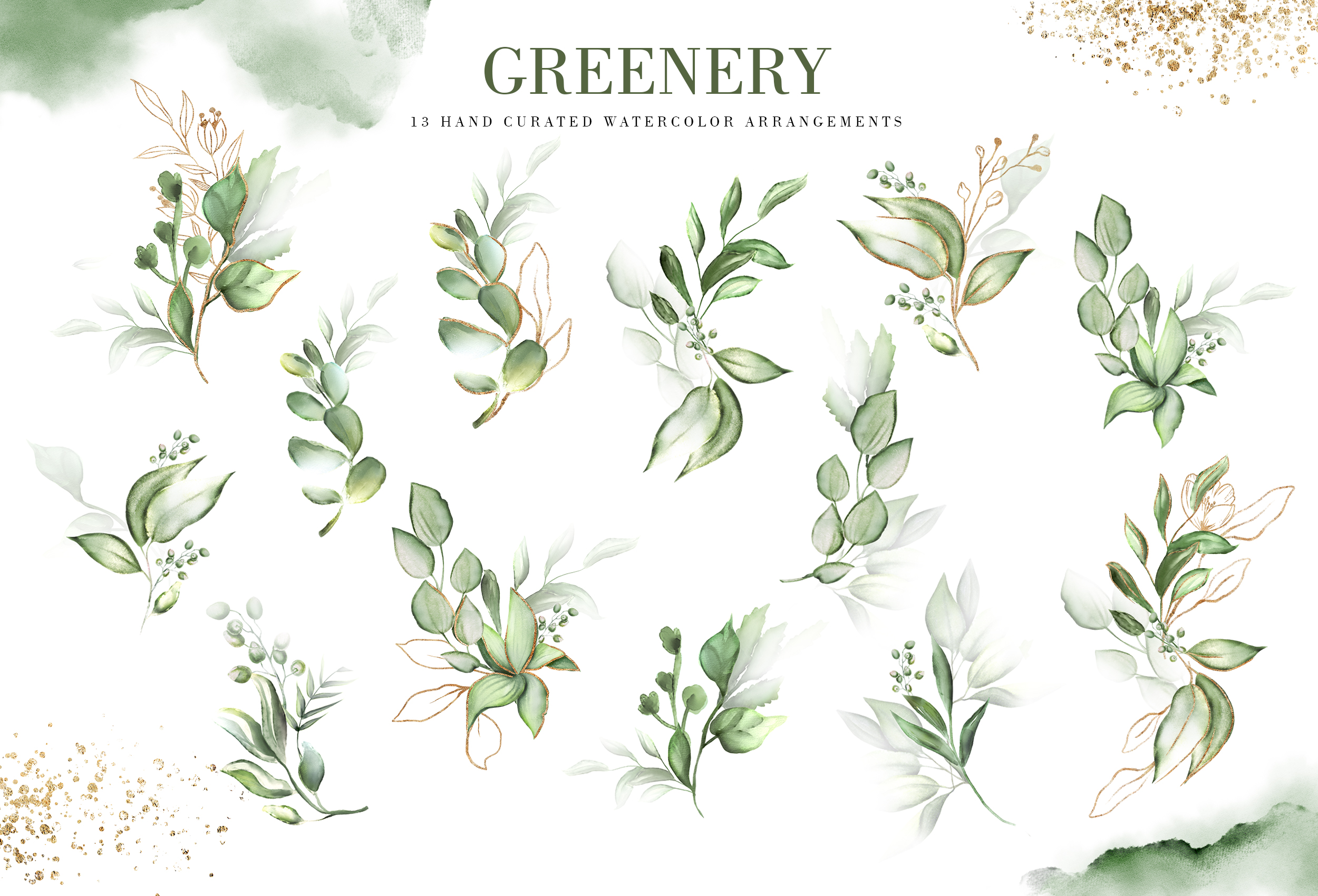 Greenery. Watercolor Elements| Letters gold with flowers example image 2