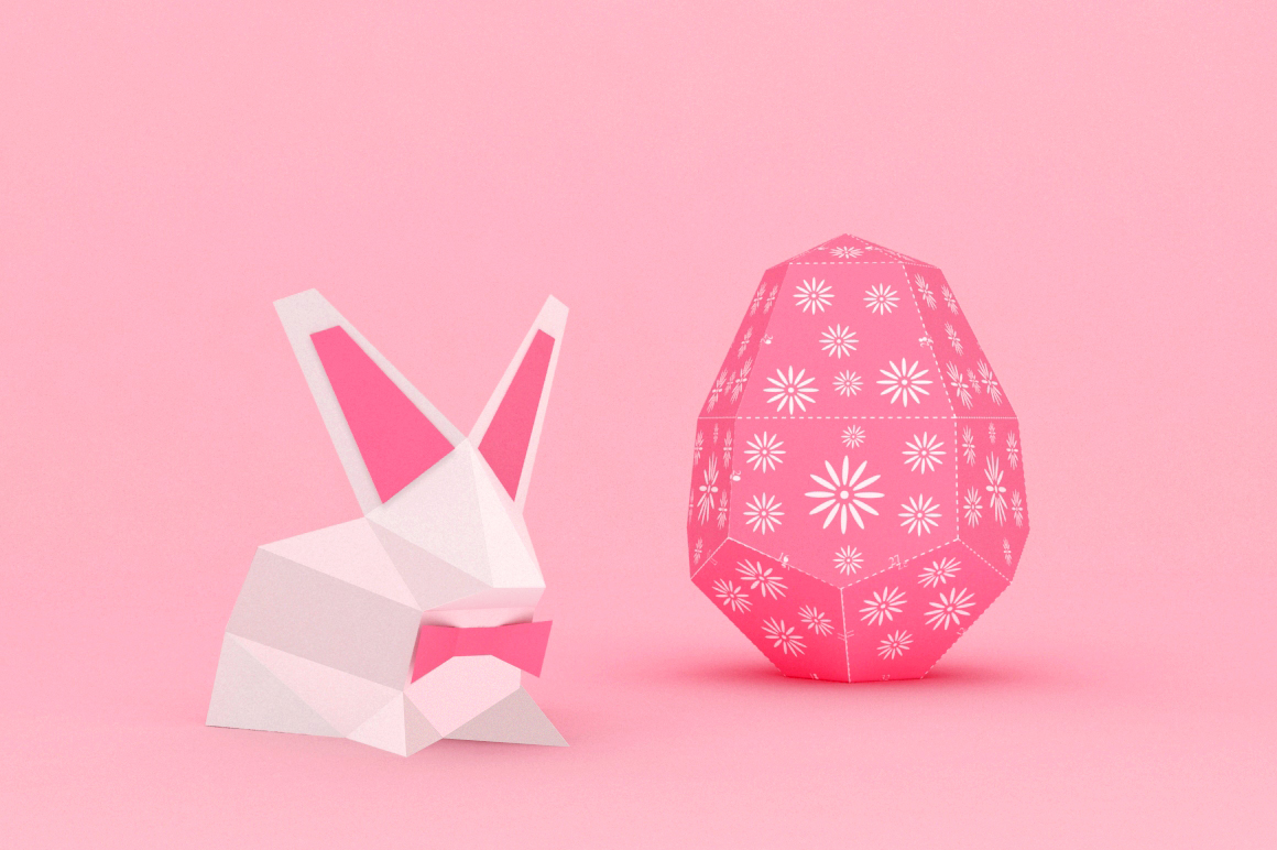 DIY Easter Egg & bunny - 3d papercraft example image 2