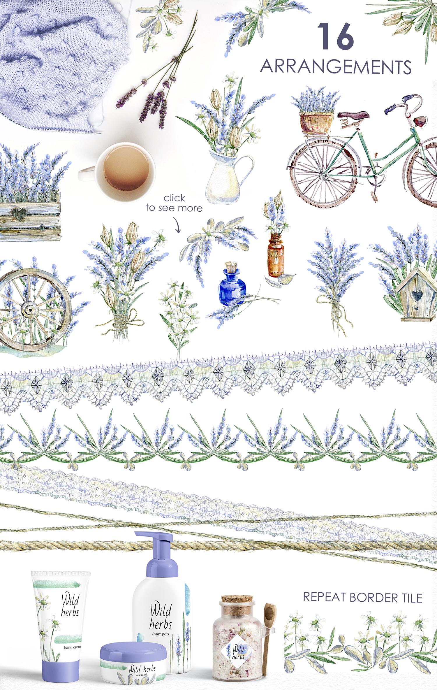 Lavender WATERCOLOR clipart set example image 2