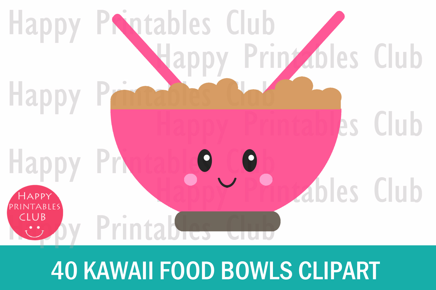 40 Kawaii Breakfast Bowl Clipart- Cereals Bowl Clipart-PNG example image 2