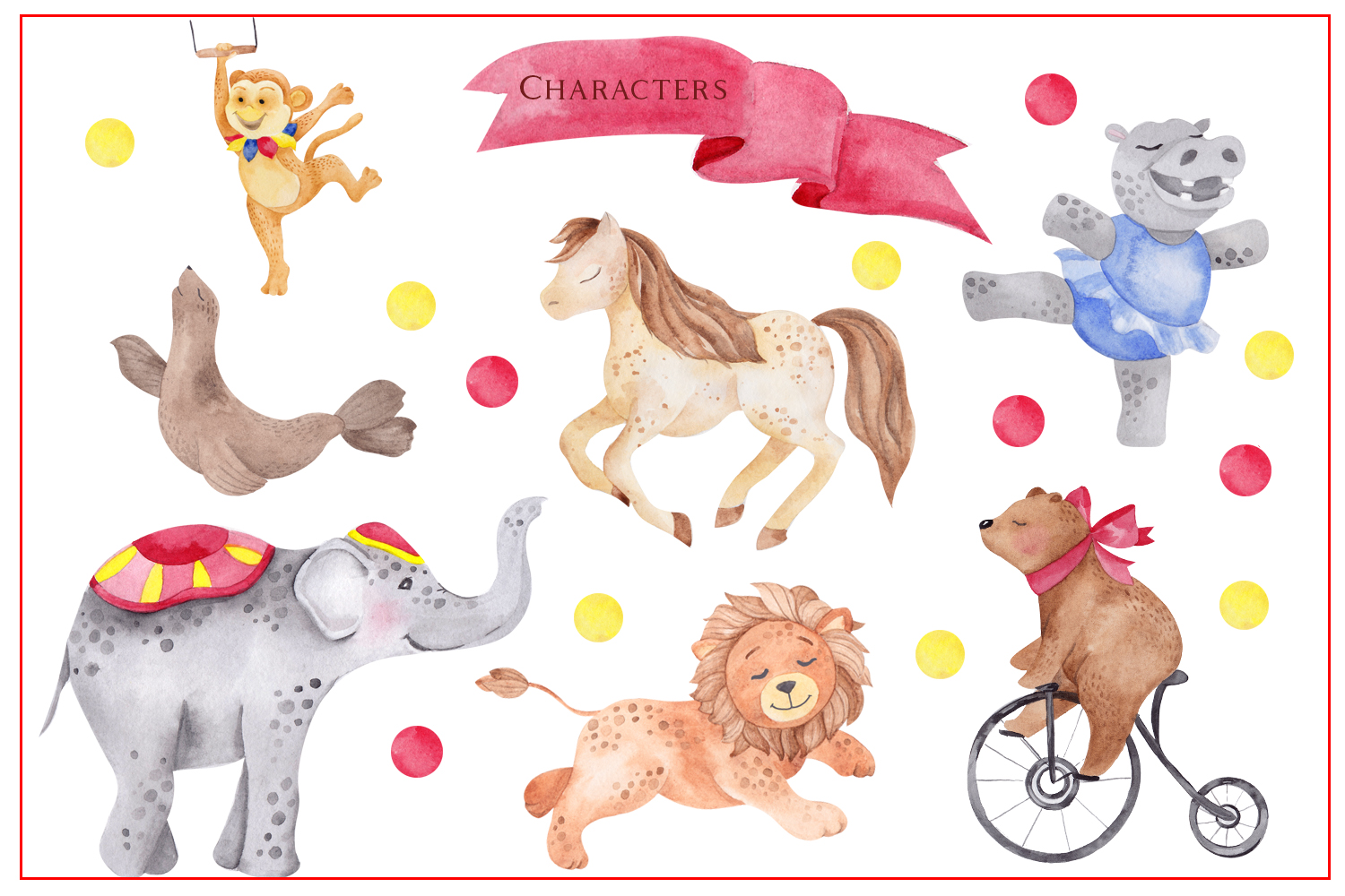 Circus. Watercolor clipart example image 2