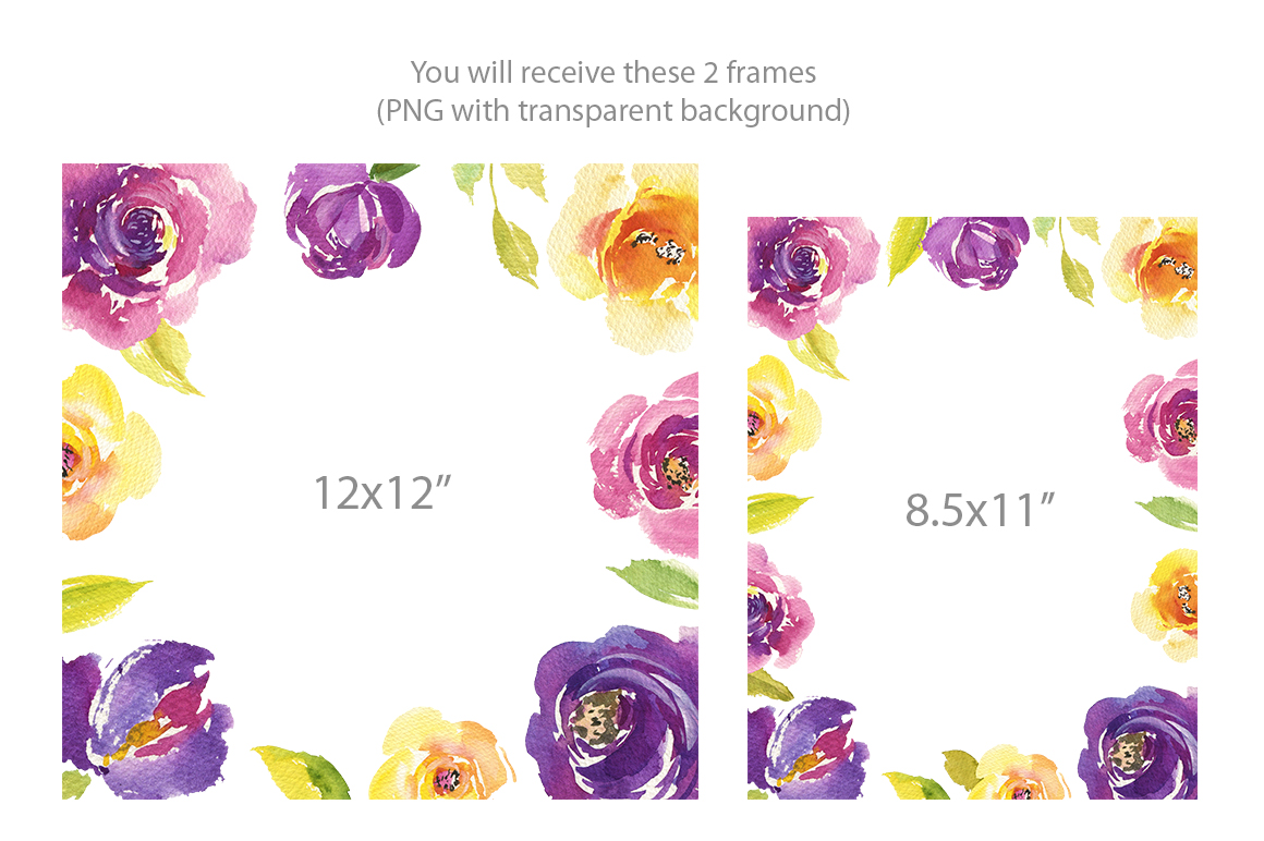 Bright Watercolor Purple and Yellow Roses Flowers PNG example image 2