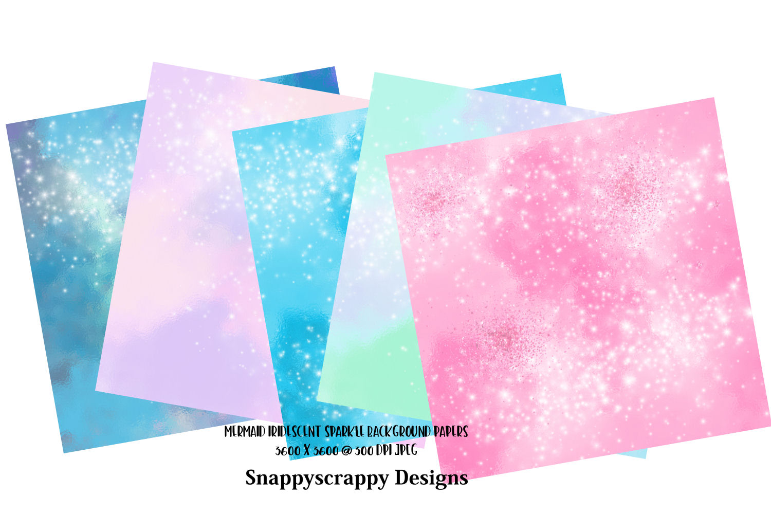 Iridescent Mermaid Sparkle Background Papers example image 2
