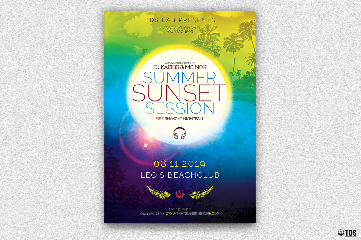 Summer Sunset Flyer Template example image 2