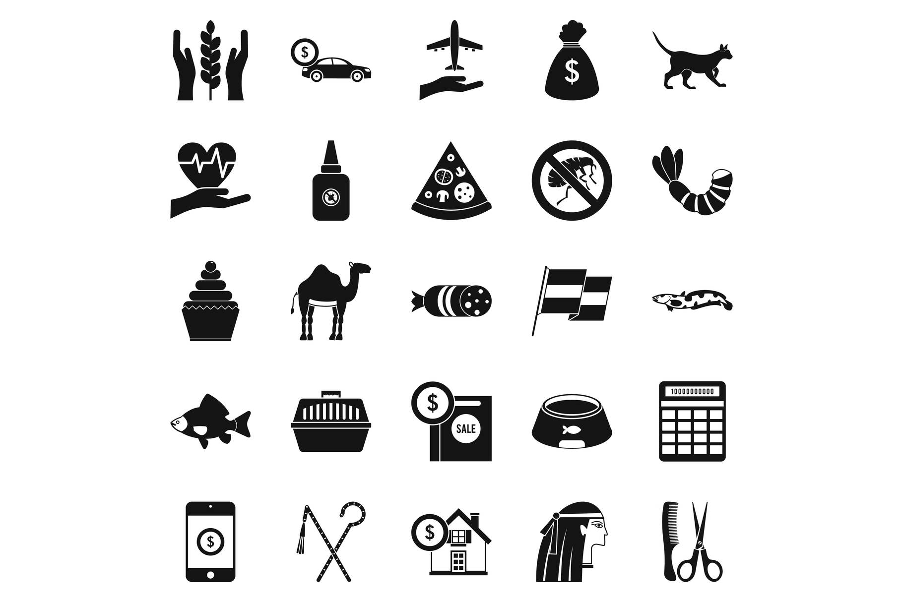 Egypt icons set, simple style example image 1