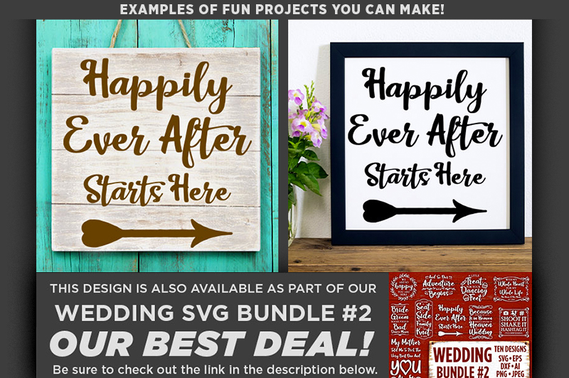 Happily Ever After Starts Here SVG File Wedding Sign - 5520 example image 2