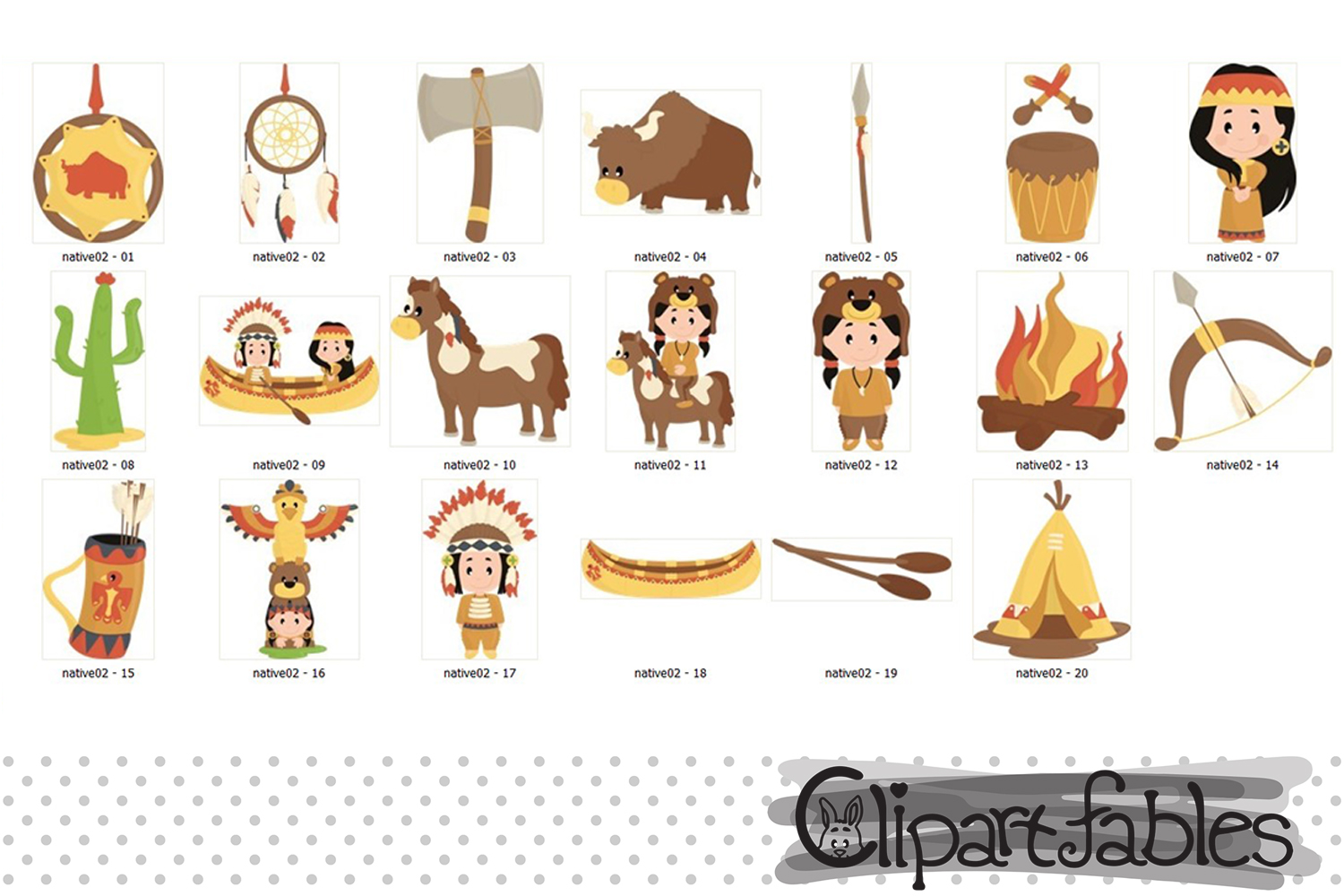 NATIVE AMERICAN clipart, Western clipart, Cute indian design example image 2
