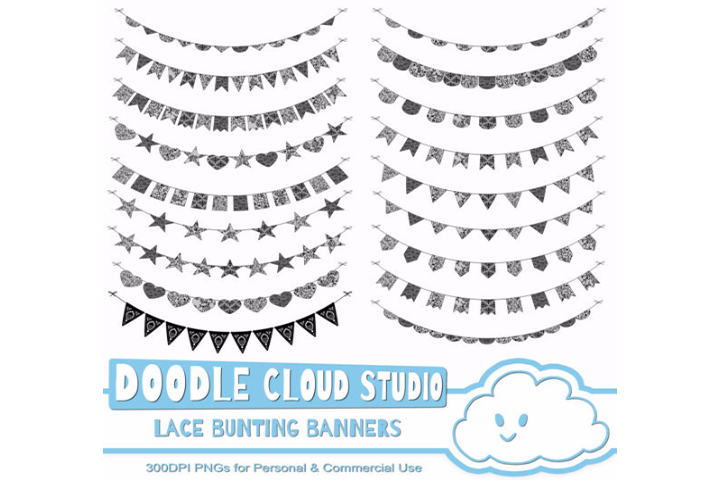 Black Lace Burlap Bunting Banners Cliparts multiple lace texture flags Dark Gothic Bunting Transparent Background Personal & Commercial Use example image 2