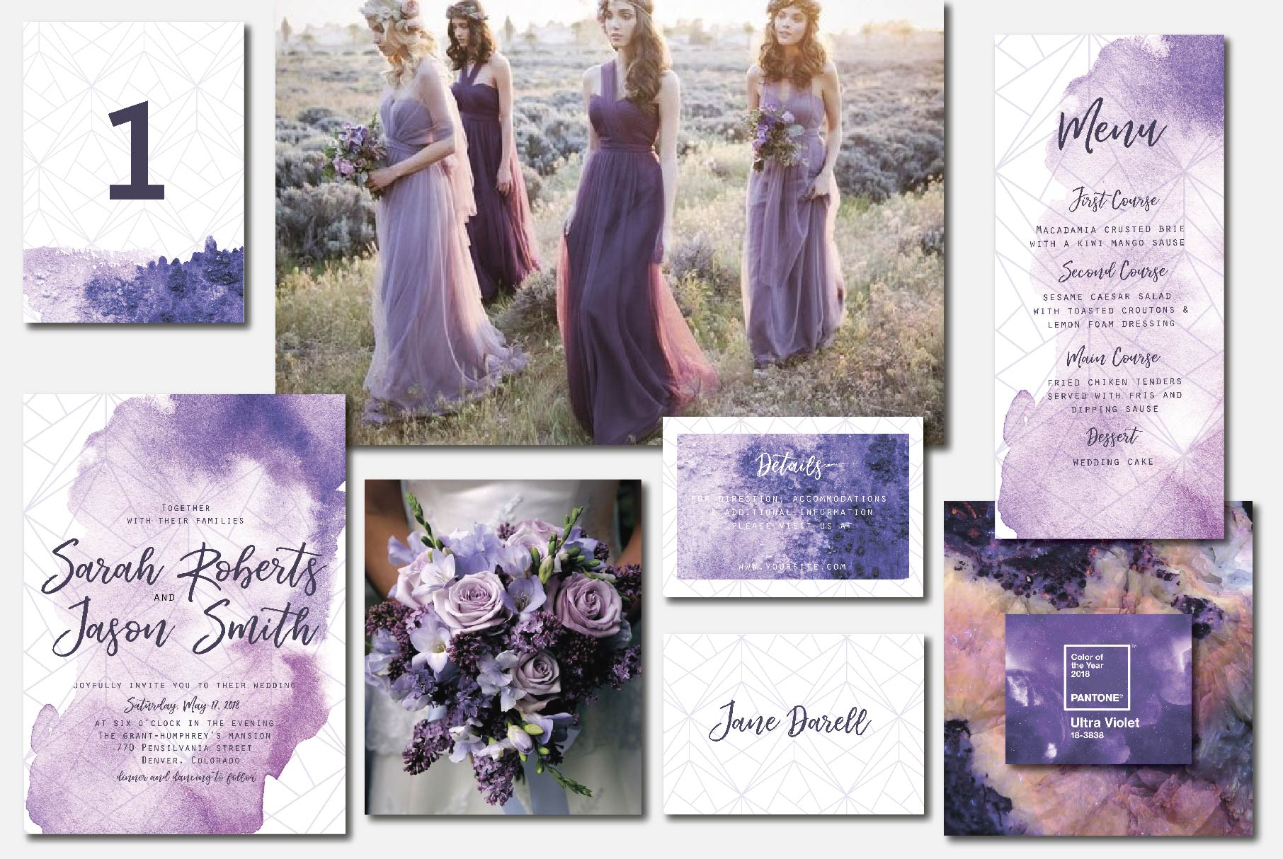 Ultra violet wedding invitation suit example image 4