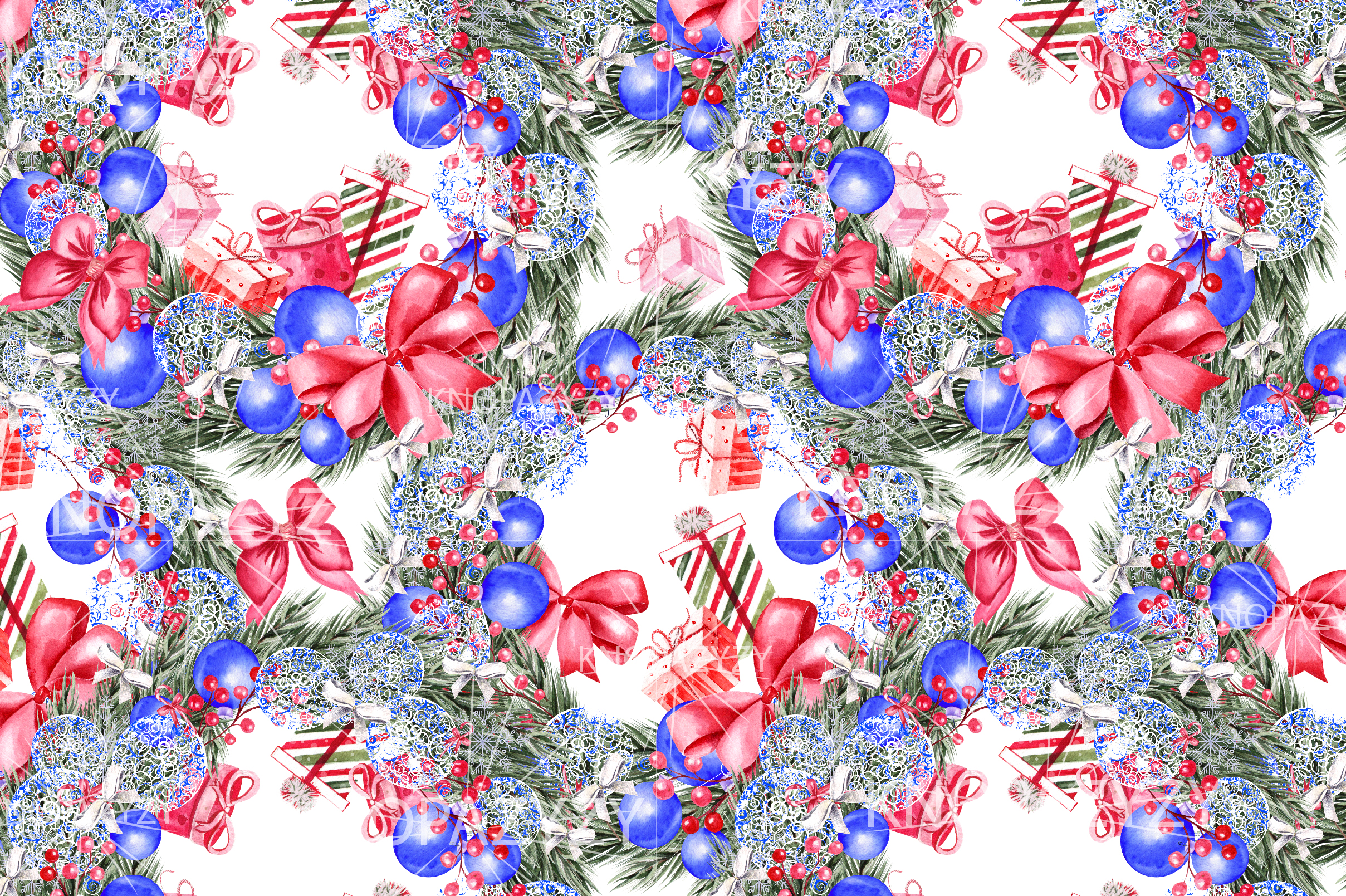 Hand Drawn Watercolor Christmas 13 Patterns example image 6