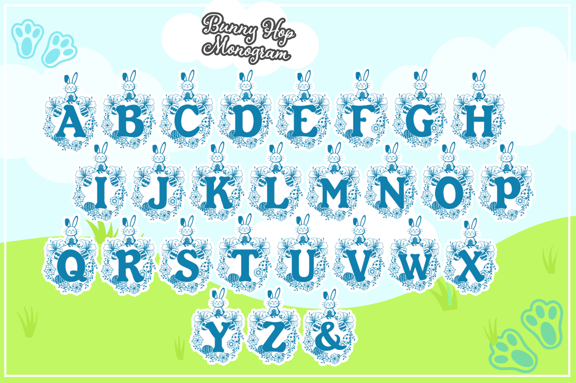 The Bunny Hop - Cute Easter Monogram Font example image 2