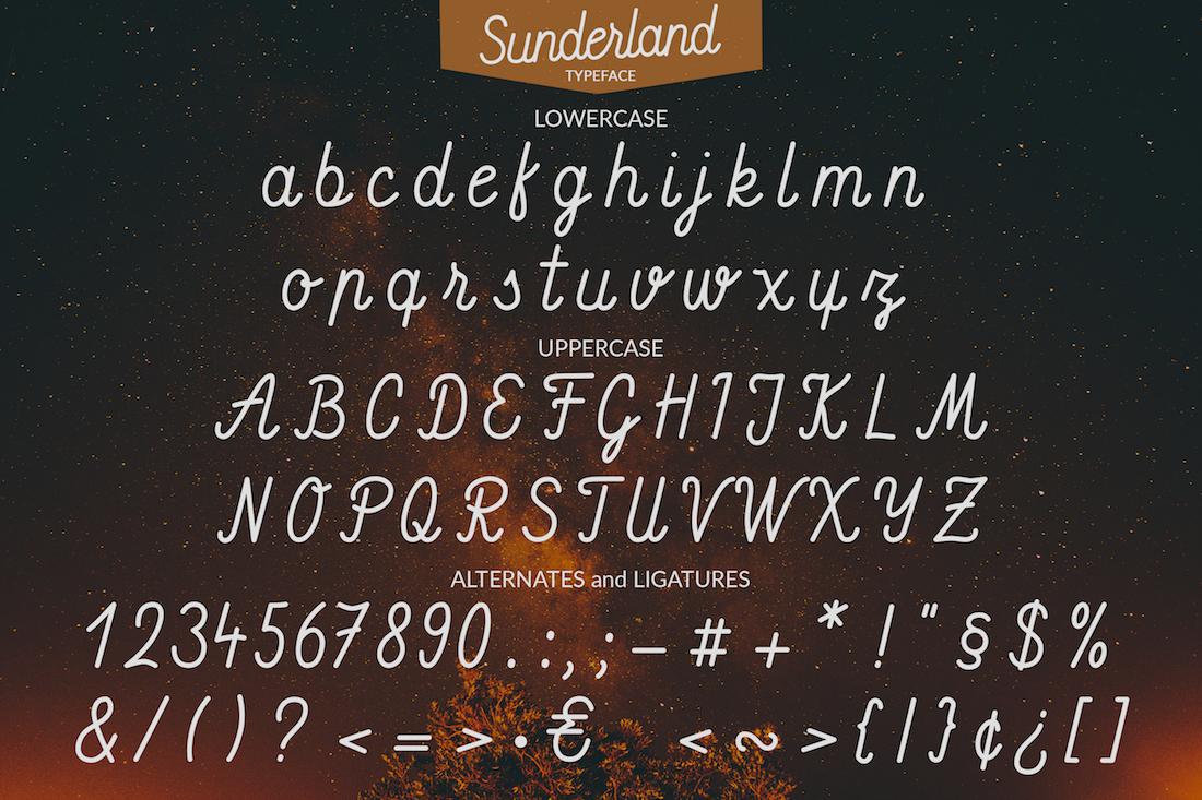 Sunderland - Smooth script font example image 2