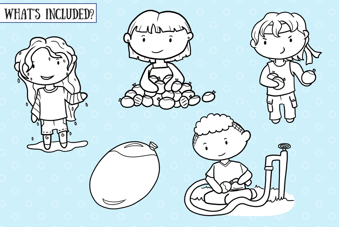 Water Balloon Fight Digital Stamps example image 2