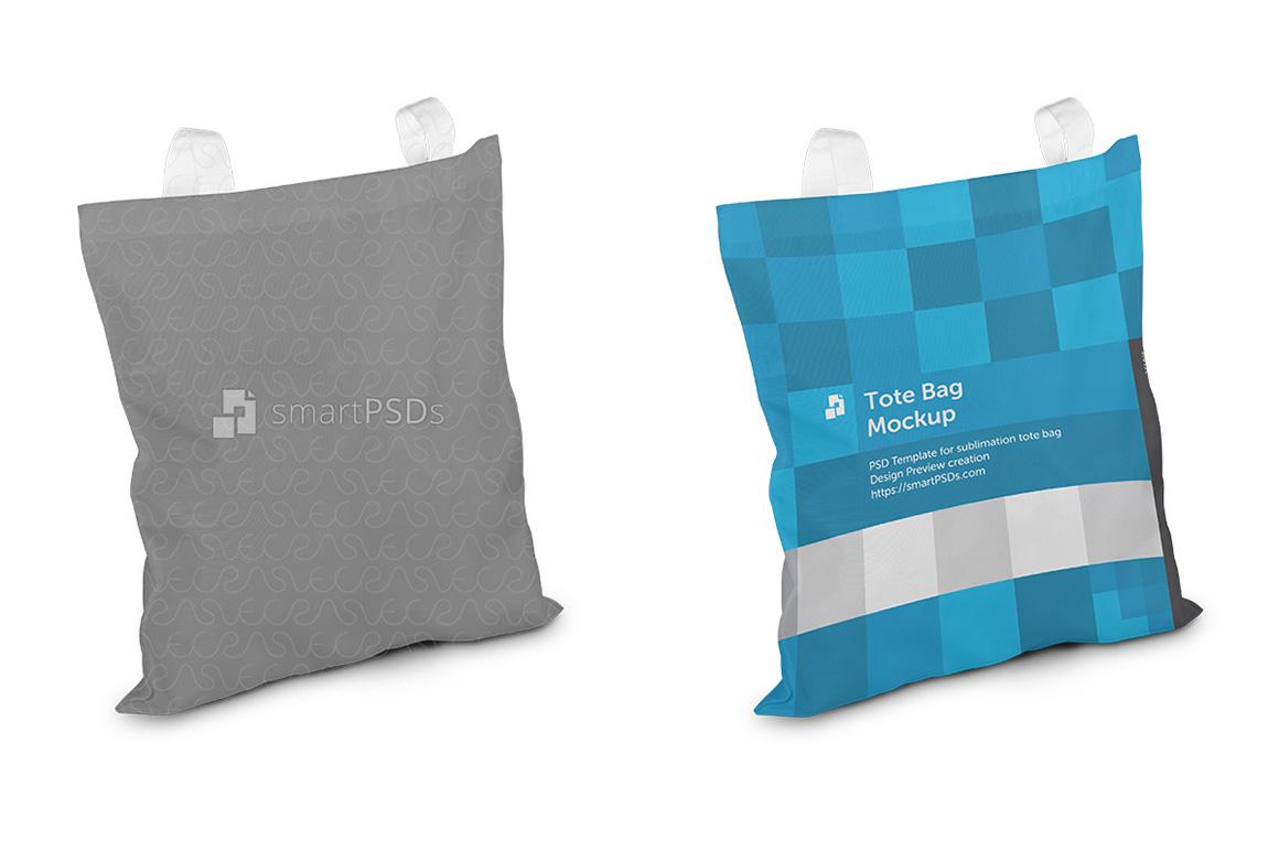 Tote Bag with Shine Mesh Sublimation Design Mockup - 3 Views example image 3