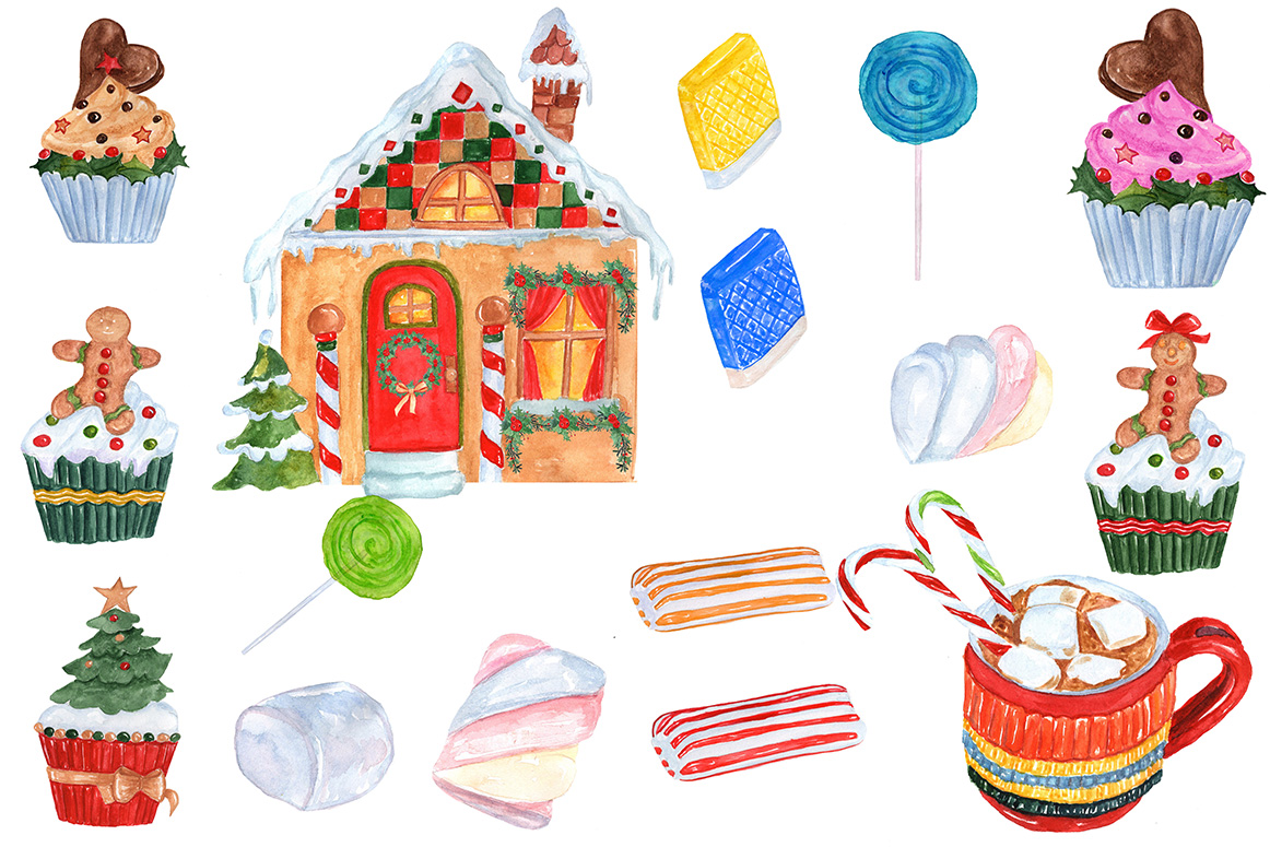 Watercolor Christmas Sweets clipart example image 3