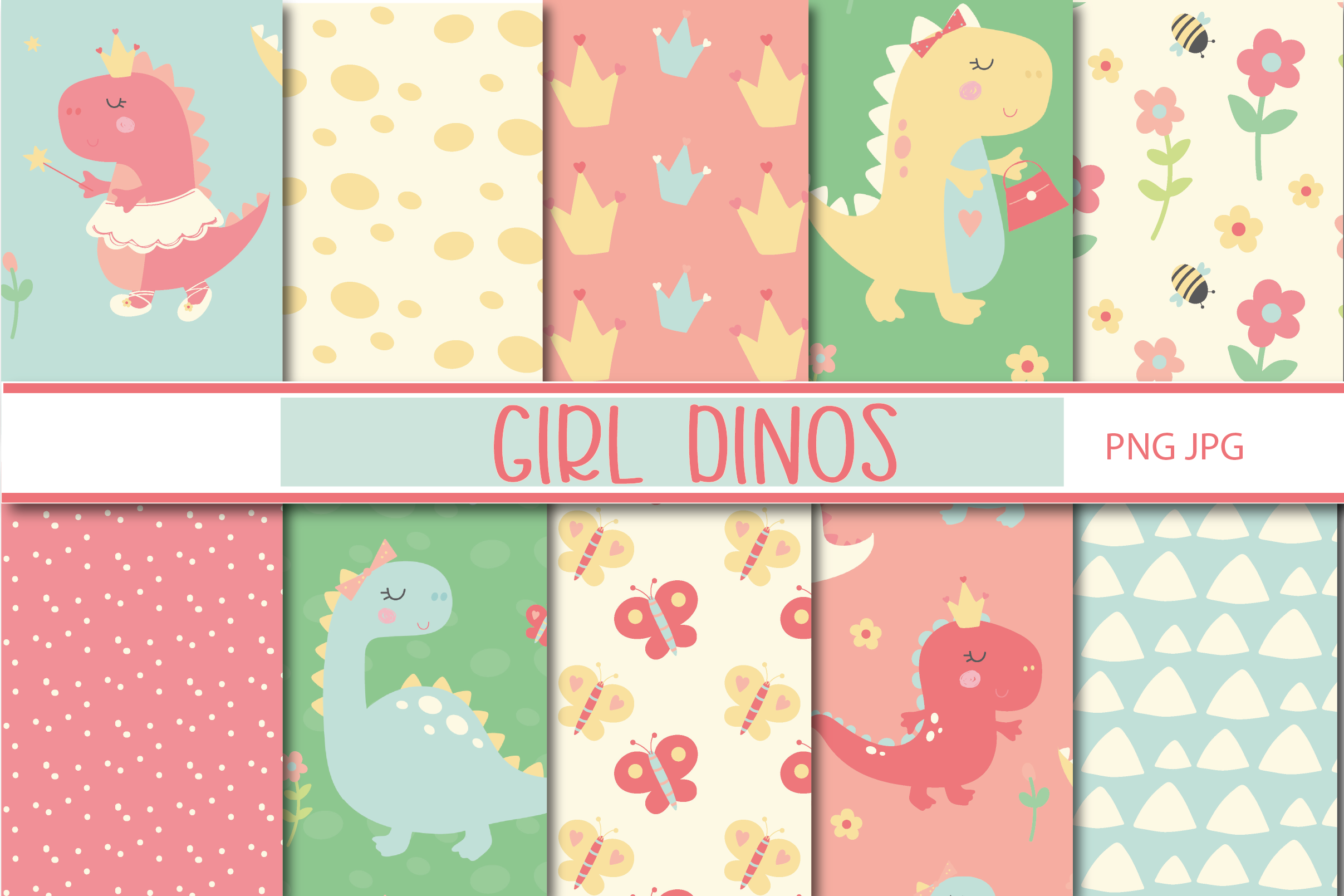 Girl Dinos, digital clipart and paper set example image 4