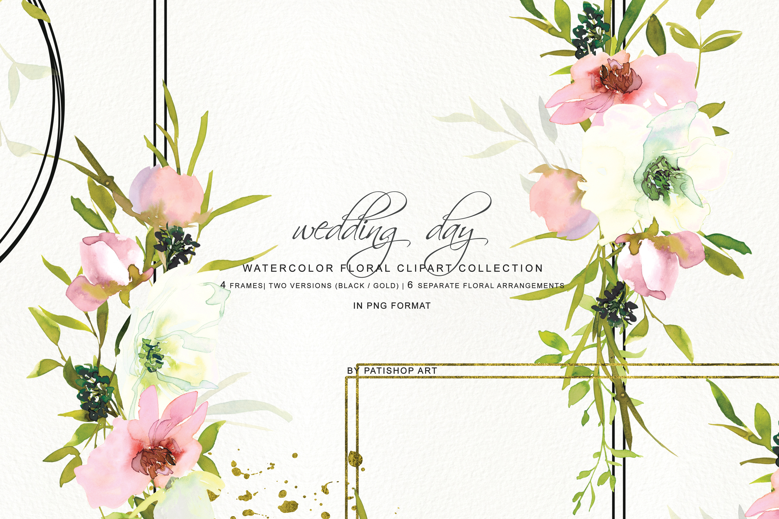 Hand Painted Watercolor Blush and White Rose Clipart example image 3