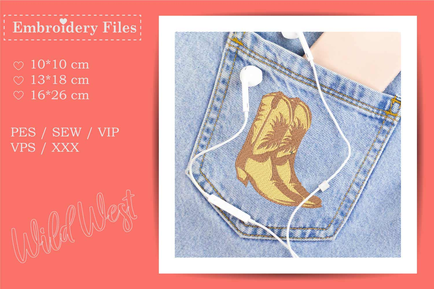 Cowboy Boots - Embroidery File for Beginners example image 2