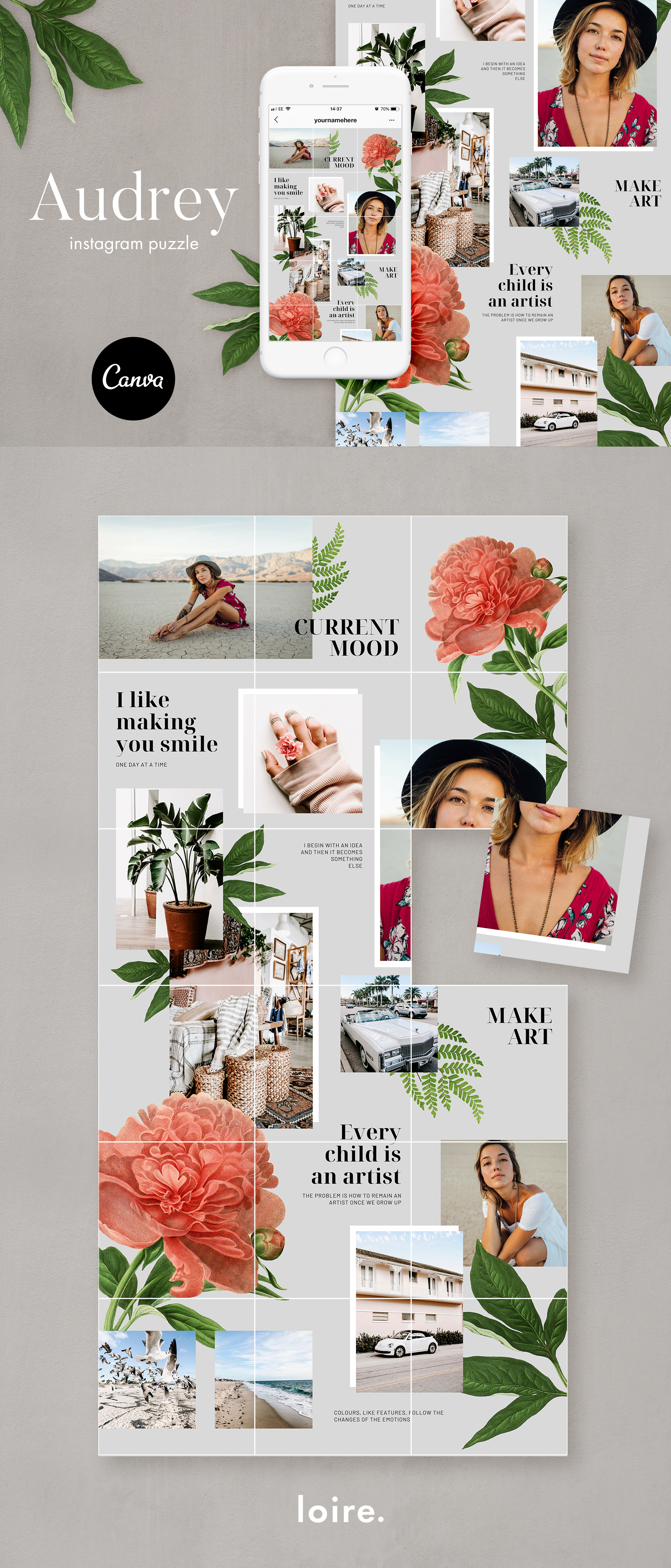 Instagram puzzle template for Canva example image 8