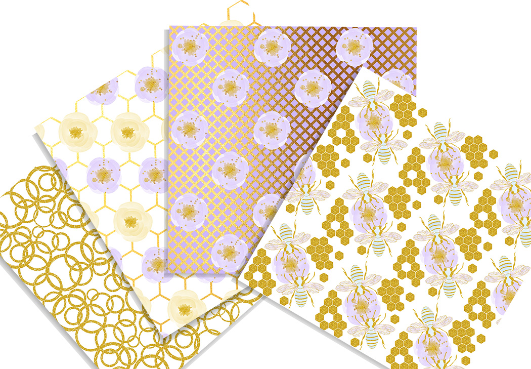 Honey bee digital paper pack. 12x12 inches example image 2