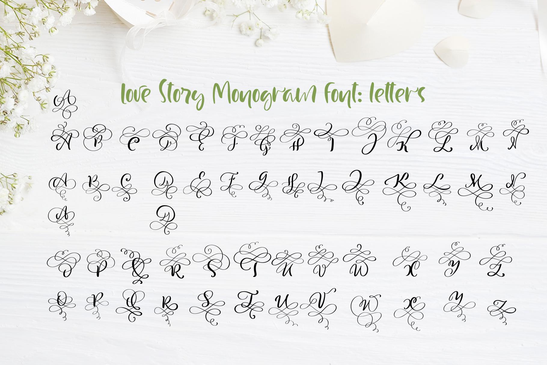Love Story Monogram Font example image 6
