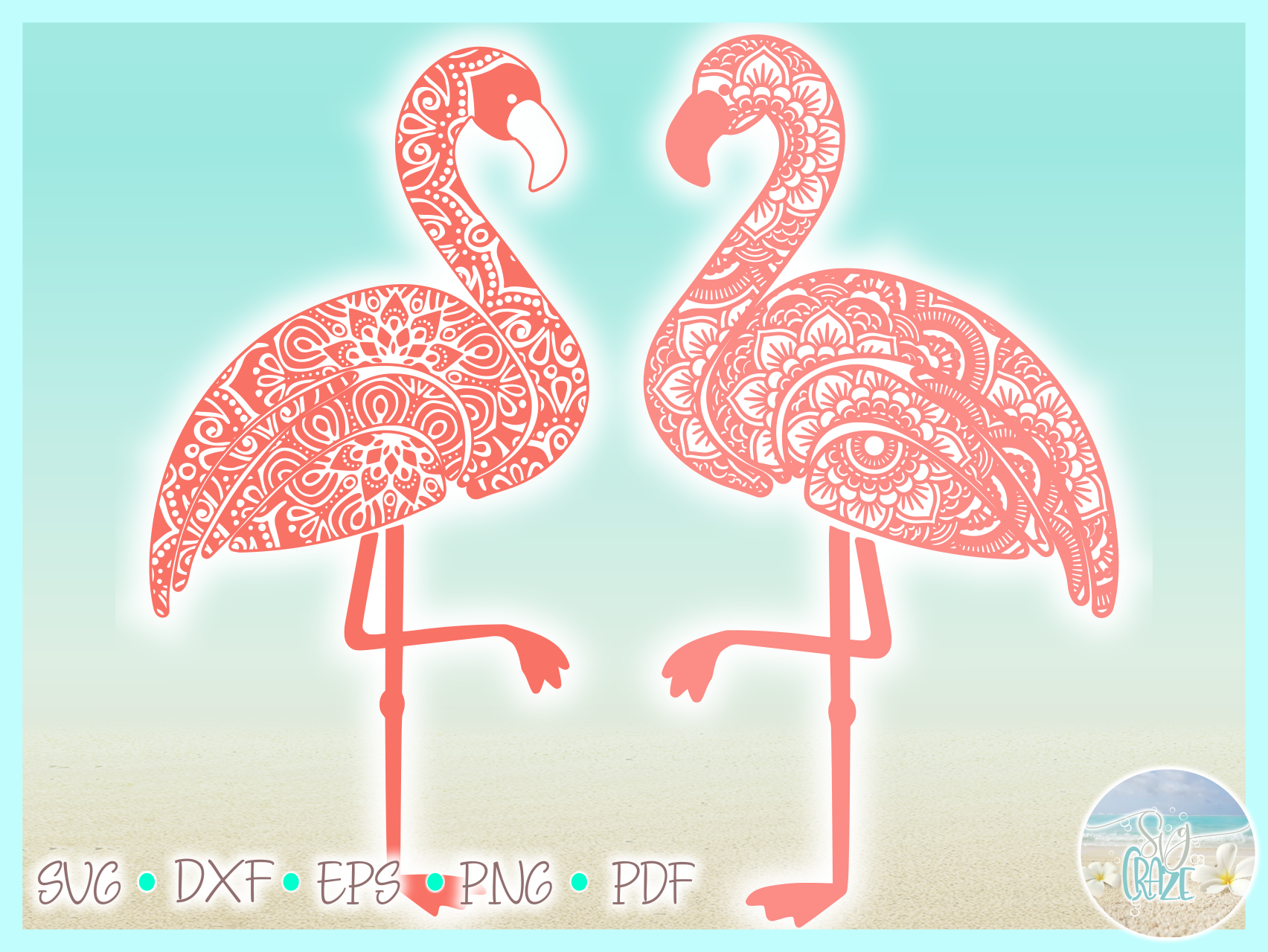 Flamingo Mandala Zentangle Svg Dxf Eps Png Pdf Files example image 3