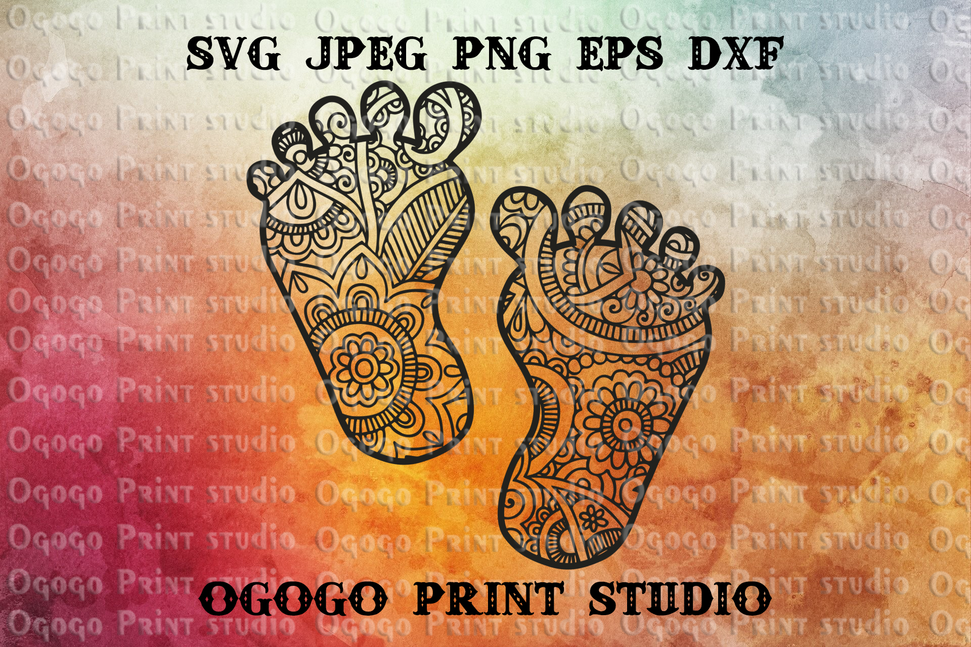 Baby feet SVG, Mothers day svg, Zentangle SVG, Cricut file example image 1