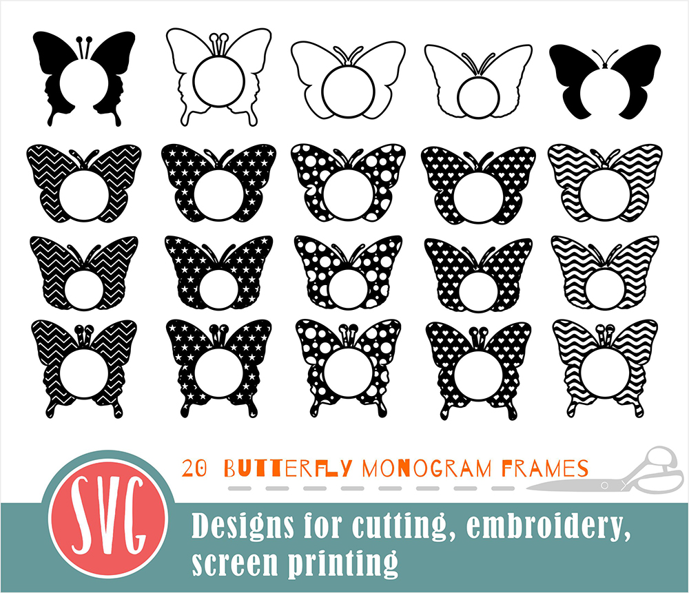 20 Butterfly Monograms Bundle SVG, DXF, JPG, PNG, DWG, AI, EPS example image 3