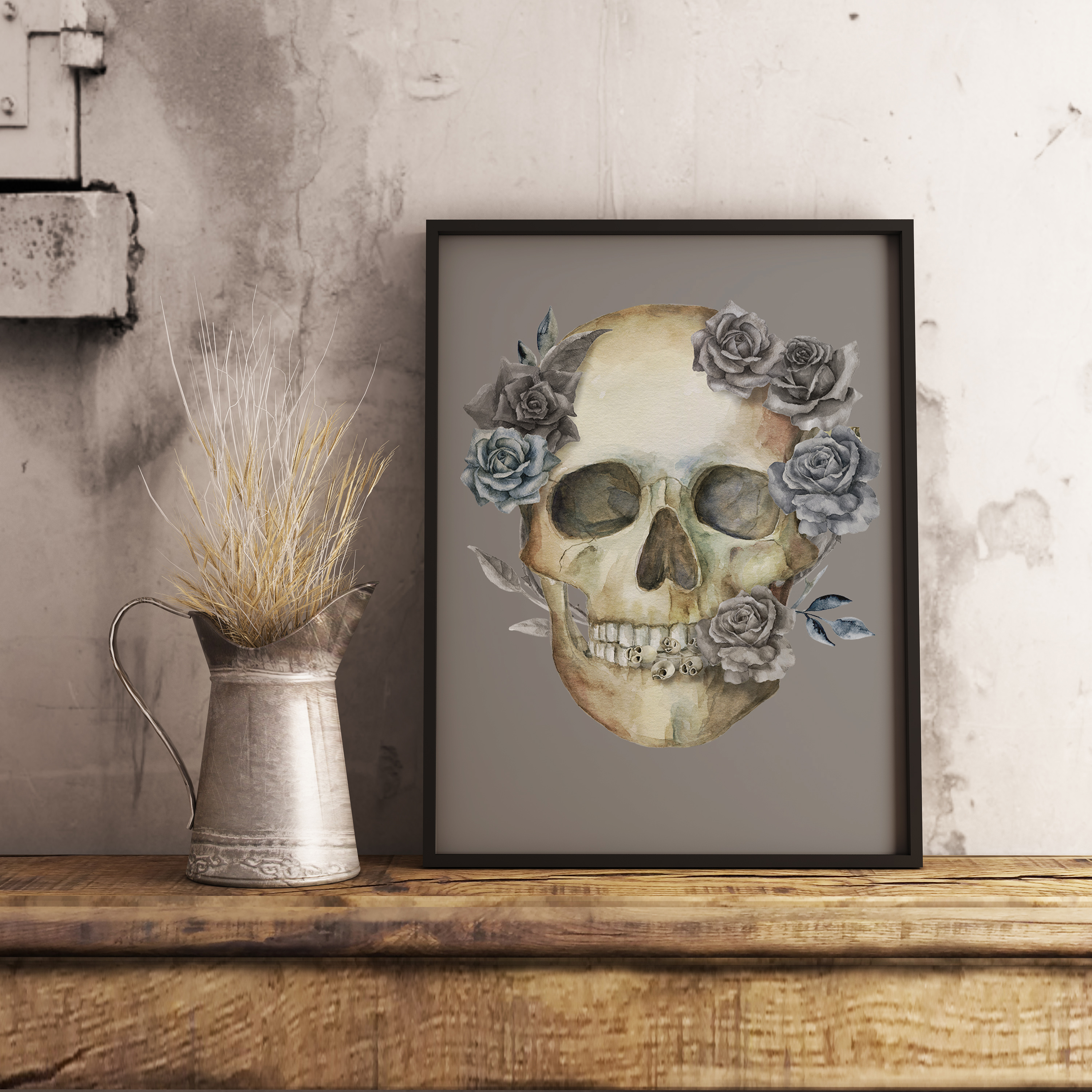 Watercolor skull, Halloween floral clipart example image 6