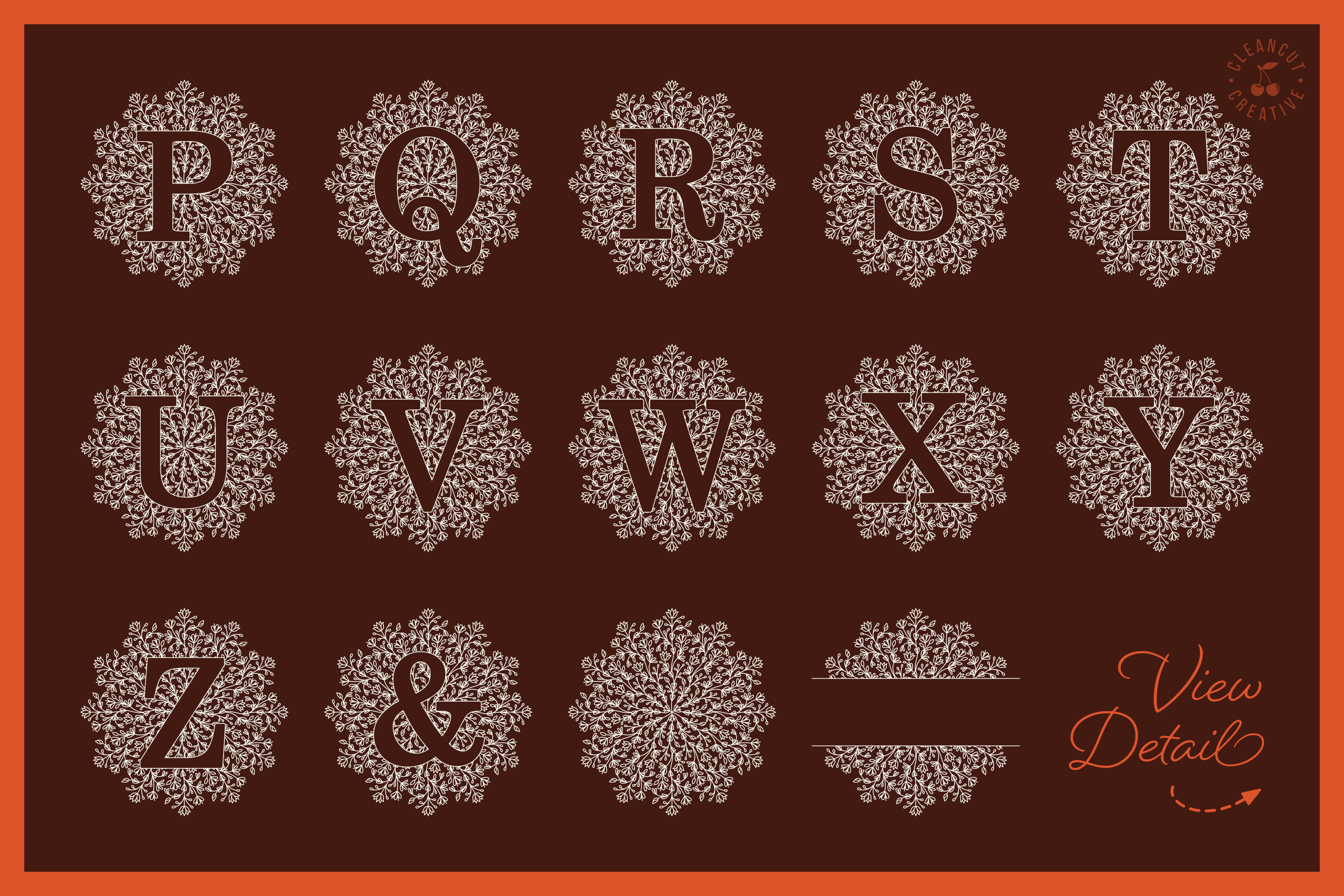 Intricate Mandala Monogram Alphabet in SVG DXF FCM EPS PNG example image 4