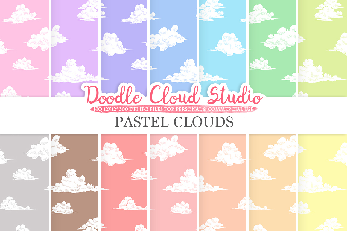 Pastel Clouds digital paper, Cloud pattern, Digital Clouds, pastel colors sky background, Instant Download for Personal & Commercial Use example image 1