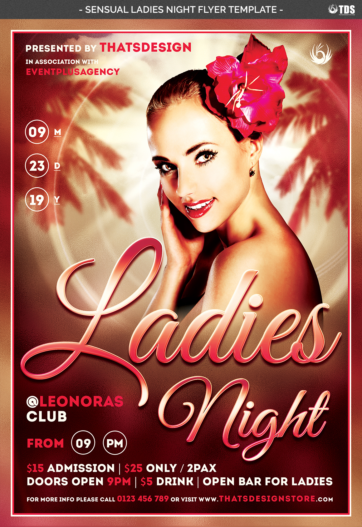 Sensual Ladies Night Flyer Template example image 4