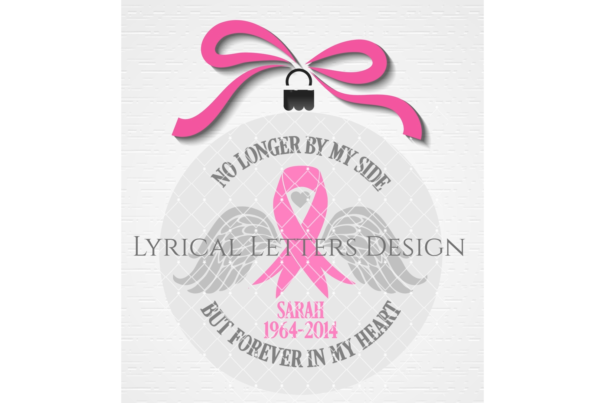Cancer Memorial Pink Ribbon SVG DXF Cut File LL166A example image 2